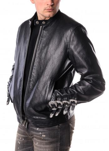 Шкіряна куртка з металевими ремінцями Dsquared2