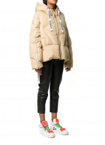 Бежева куртка-пуховик з логотипом KHRISJOY