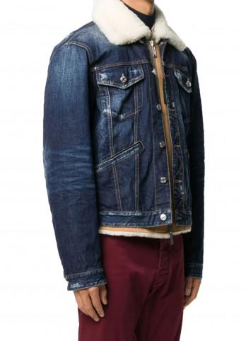 Чоловіча джинсова куртка з потертостями Dsquared2