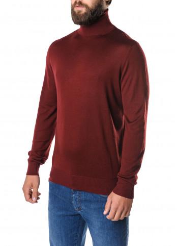 Бордовый свитер с высоким воротником Pierre Balmain