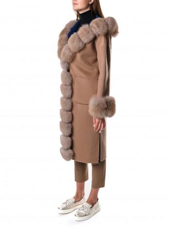 Двостороннє кашемірове пальто з хутром лисиці Suprema